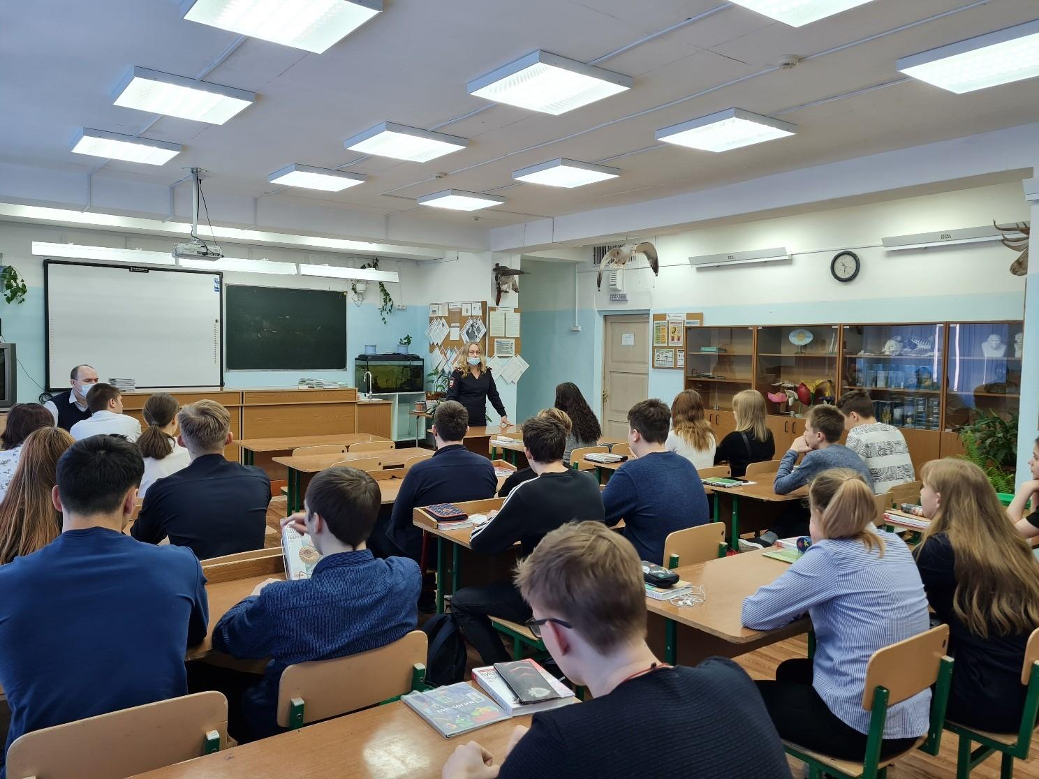 Встреча учащихся со старшим инспектором ООУУПиПДН майором полиции Белых В.Н
